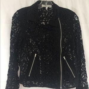 Robbi + Nikki Black Lace Zip Up Moto Jacket